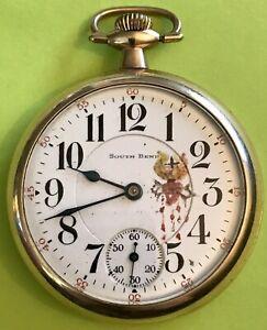 Working! 1917 South Bend RR Grade, 21j Pocket Watch w/ HandPainted Sacred Heart