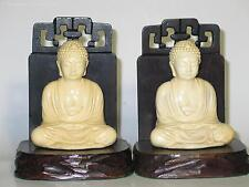 Pair Vintage 1930s Plastic & Wood Buddha (Budda) Bookends