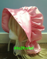 Satin Pink Victorian Edwardian Adult Baby Fancy Dress Bonnet Hat Sissy Maid Cap