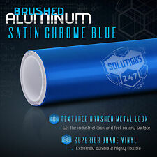 """60""""x120"""" In Satin Chrome Blue Brushed Aluminum Vinyl Wrap Decal Air Bubble Free"""