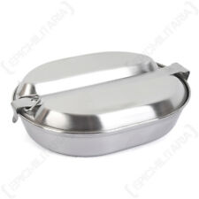 US Stainless Steel Mess Tin - WW2 Repro Army Metal Camping American Plate Set
