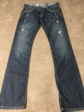 Guess Denim Med Wash Distressed Flare Flap Pockets Jeans 27x32