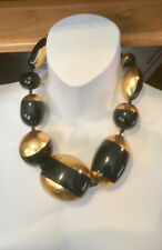 monies gerda lynggaard  massive bib necklace collar gold foil black resin runway