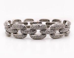 "Heavy 61.7 Grams Solid Platinum 900, 8.2 TCW Diamond Link Bracelet 7.25"" 13 MM"