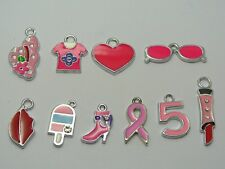 10 Assorted Silver Enamel Charms Pendants Lips Hat Bag Tags Bracelets Key Ring