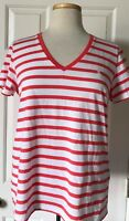 NWT Womens Polo Ralph Lauren Pony Logo Striped V-Neck T-Shirt Orange White L