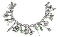 Wiccan Stainless Steel Charm Bracelet, Swarovski Beads, Pagan Jewelry