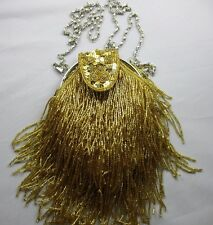 Clutch Purse Metallic Gold Sequins Dangle Beads Snap Pouch Chain Strap NWT T84