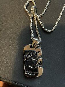 Gento By Effy Men's Black Sapphire Pendant (1/2 Ct. T.w.) In Sterling Silver