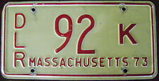1973 MASSACHUSETTS DEALER LICENSE PLATE #  92   K