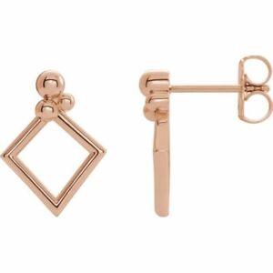 Geometric Earrings In 14K Rose Gold