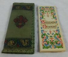 Bridge Score Pad With Decorative Leather Holder-Organizer Vintage Game Cover
