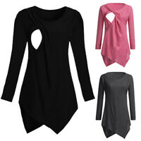 New Women Pregnant Casual Long Sleeve Top T Shirt Maternity Solid Nursing Blouse