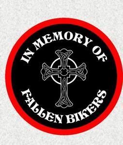 "FALLEN BIKERS BIKER 4"" BIKER BADGE PRINTED SEW ON CLOTH BADGE MOTORBIKE"