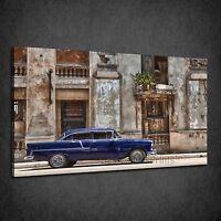 BLUE HAVANA CAR RETRO VINTAGE BOX CANVAS PRINT WALL ART PICTURE