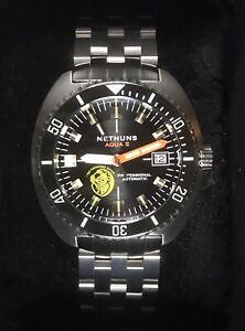 NETHUNS Aqua II Men's Diver Automatic 24 Jewels Bracelet Watch A2S307 30ATM 44mm