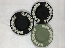 Antique Wedgwood Jasper Ware Ashtray Grapevine On Black Green 3pc
