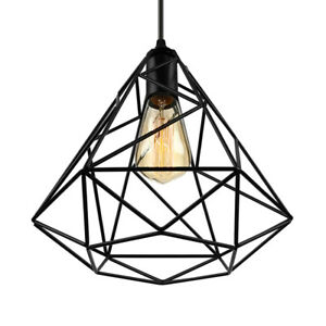 Modern Diamond Metal Cage Pendant Light Black Wire Ceiling Lamp Retro Chandelier