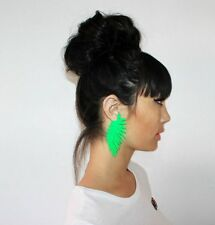 Exaggerated green Drop Party Dangle LONG Leaf Feather Big Lightweight Earrings