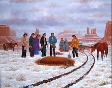 Navajo canvas painting HE FELL OFF THE WAGON 18x24 by renowned Jimmy Yellowhair