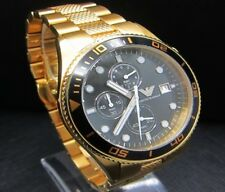 NEW GENUINE EMPORIO ARMANI AR5857 GOLD STAINLESS STEEL CHRONOGRAPH MEN'S WATCH