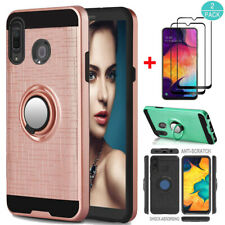 For Samsung Galaxy A20/A30 Ring Holder Kickstand Case Cover+Screen Protector