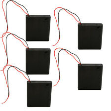 """5X 4 AA/2A Black Cell Battery 6V Clip Holder Box Case Switch ON/OFF+6"""" Leads"""
