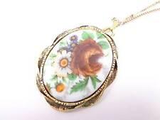large porcelain flower print pendant Vintage Gold tone chain necklace