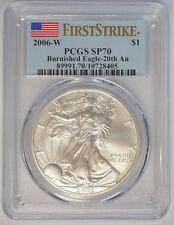 2006 W $1 American Silver Eagle 1 oz PCGS SP70 Burnished 20th Ann. F/S #33