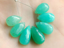 Green Chrysoprase Faceted Pear Briolette Semi Precious Gemstone Beads