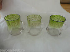 "BOHEMIAN GLASS MOSER SET OF 3 ENAMELED GREEN PUNCH GLASSES CUPS  3 1/8"" TALL"