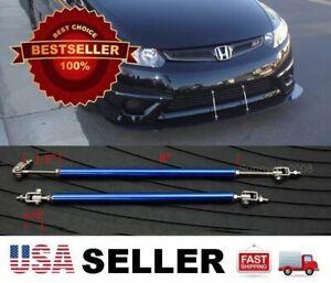 """Blue 8"""" adjustable extension Rod Bumper Lip Diffuser splitter For Honda Acura"""