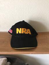 NRA Black Baseball Cap Hat Size Adjustable Strap US Flag On Side New