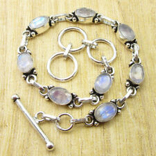 """Blue Rainbow Moonstone Faceted NEW Bracelet 8"""" Silver Plated Jewelry NEW"""