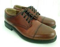 DOCKERS Gordon Men's Brown Leather Oxford Lace Up Rubber Sole Cap Toe Sz US 9 W