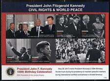 GHANA 2017  100th BIRTHDAY CELEBRATION JOHN F. KENNEDY CIVIL RIGHTS  SHEET