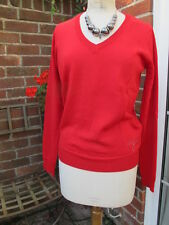 100% Calvin Klein JEANS red wool blend JUMPER with diamante logo £145 large bnwt