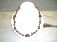 Men's multi amber and brown stone necklace