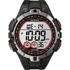 Mens Timex Marathon Indiglo Black Rubber Sports Alarm Digital Watch T5K423