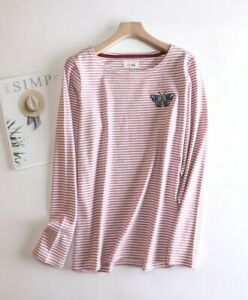 New Ex JOULES UK Size 16 Womens Harbour Butterfly Embroidered Stripe Jersey Top