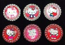 HELLO KITTY 27mm GLASS DOME FLATBACK CABOCHON RHINESTONE EMBELLISHMENTS 6 pcs D