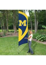 Michigan 8.5 Tall Team Flag 11.5 Pole W/Ground Stake Double Side Embroidered Nib
