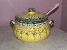 Polish Pottery UNIKAT 3L Soup Tureen with Ladle! Miss Daisy Pattern