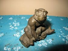 Vintage Chinese Fengshui Figurine  Bronze Monkey Seat Pine Tree Statue/ Figure