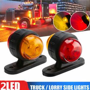 2× Side Marker Outline LED Light Lamp yellow Red 12-24V Volt Trailer Truck Lorry