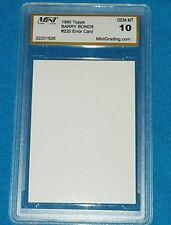 BARRY BONDS 1990 TOPPS BLANK FRONT #220 ERROR CARD MINT 10 GRADE