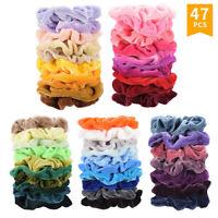 47Pcs Hair Scrunchies Velvet Elastics Hair Ties Scrunchy Bands Ties Ropes Gifts