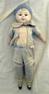"Vtg/Antique Composition Molded Hat Boy Doll, Fabric/Straw Body & Glass Eyes, 16"""