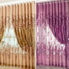 250x100cm Peony Voile Ring Top Curtains Window Curtain Tulle Sheer Curtains