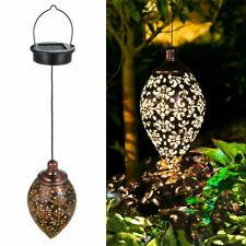 LED Moroccan Solar Garden Hanging Lantern Iron Patio Yard Light Outdoor Decor